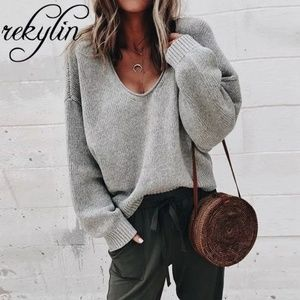 loose fitting oversized knit sweater